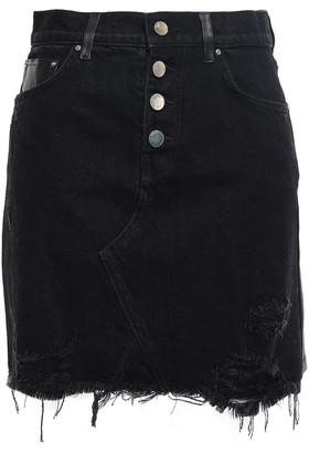 Amiri Leather-paneled Distressed Denim Mini Skirt