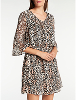 Somerset by Alice Temperley Leopard Flute Sleeve Dress, Multi