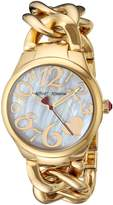 Betsey Johnson Women's BJ00297-12 Gold Steel Case and Link Bracelet Watch