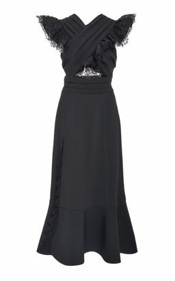Prabal Gurung Ruffled Lace-Trimmed Crepe Dress