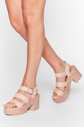 Nasty Gal Womens Wooden It Be Nice Cleated Heeled Sandals - Beige - 3