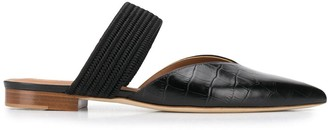 Malone Souliers Alligator Effect Leather Mules