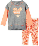 Puma Twofer Heart Top & Animal Print Pant Set (Baby Girls)