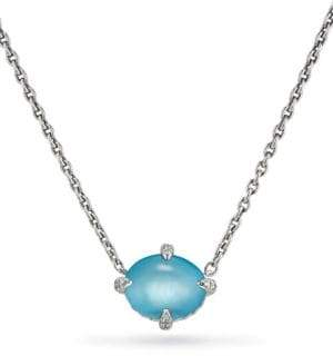 David Yurman Chatelaine? Diamond, Blue Topaz& Sterling Silver Single Stone Necklace