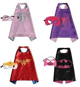 WOOLIN Hero Dress Up Costumes 4 Satin Capes and 4 Felt Masks For Girls