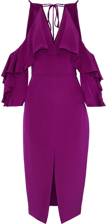 Thumbnail for your product : Cushnie Cold-shoulder Ruffled Silk Midi Dress