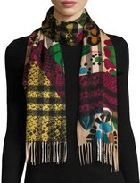 Burberry Cashmere Giant Check Patchwork Scarf, Multicolor