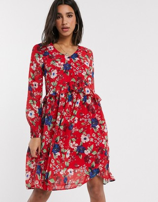 Vero Moda drop waist floral smock dress