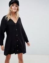 Asos Design DESIGN button through mini dress with long sleeves