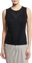 Elie Tahari Candace Sleeveless Fringe-Front Sweater