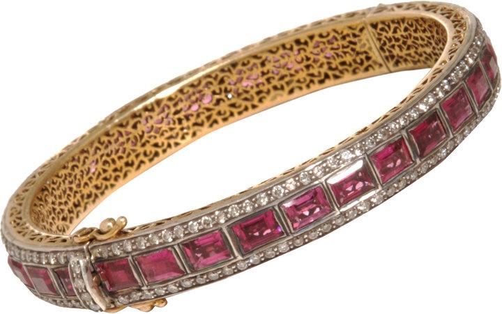 Munnu Pink Tourmaline & Diamond Bangle