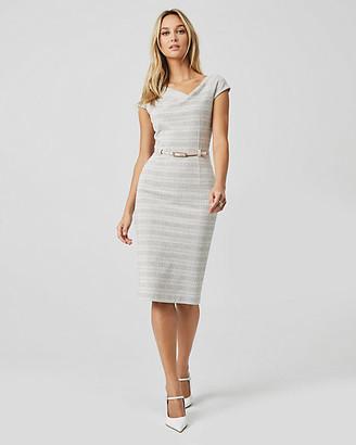Le Château Check Print Double Knit Asymmetrical Dress