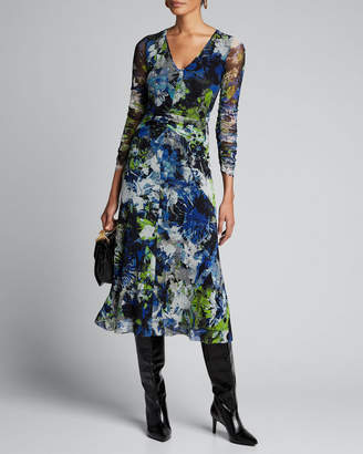 Fuzzi Floral V-Neck Long-Sleeve Shirred Front Midi Dress