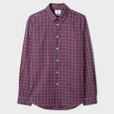 Paul Smith Men's Tailored-Fit Red And Navy Check Brushed-Cotton Shirt