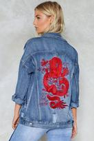 Nasty Gal nastygal Taming the Dragon Distressed Denim Jacket