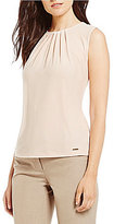 Calvin Klein Petites Solid Matte Jersey Pleat Neck Shell
