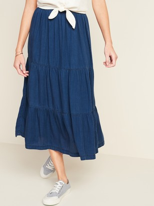 Old Navy Tiered Chambray Midi Skirt for Women