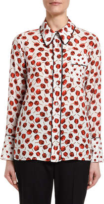 No.21 No. 21 Printed Long-Sleeve Blouse with Embellished Collar