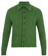 PRADA Point-collar ribbed-knit wool cardigan