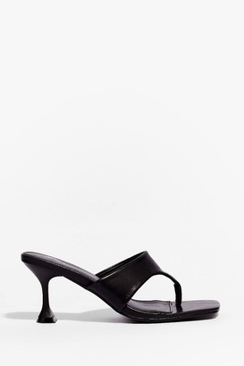 Nasty Gal Womens It's Meant Toe Be Faux Leather Stiletto Mules - Black - 3