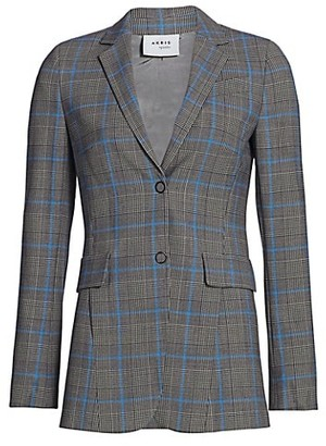 Akris Punto Wool-Blend Long Plaid Blazer