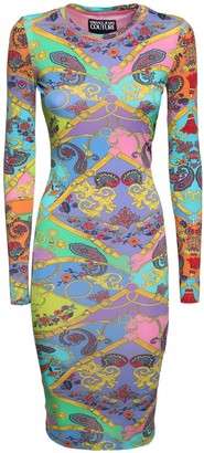 Versace Printed Stretch Jersey Dress