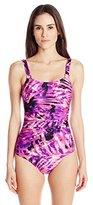 Calvin Klein Women's Plum Sundial Shirred Maillot One Piece Swimsuit
