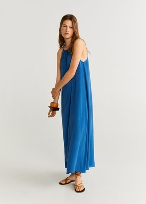 MANGO Halter neck dress vibrant blue - 4 - Women