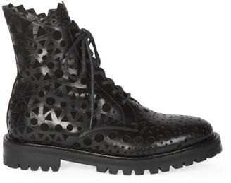 Alaia Laser Cut Leather Combat Boots
