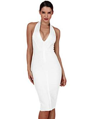 Deer Lady Womens Halter Bodycon Midi Simple Cocktail Party Bandage Dress XS