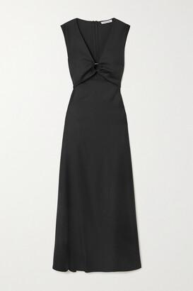 ANNA QUAN Verner Cutout Gathered Wool-twill Maxi Dress