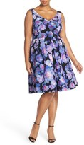 City Chic Plus Size Women's 'Floral Rain' Print Fit & Flare Dress