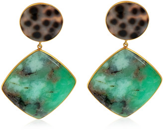 Bahina Chrysoprase, Shell 18K Yellow Gold Earrings