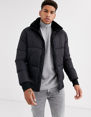 Schott padded bomber jacket with faux fur collar-Black