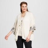 Xhilaration Women's Plus Size Embroidered Kimono