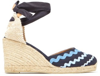 Castaner Craby 80 Striped Canvas And Jute Platform Wedges - Womens - Blue Multi