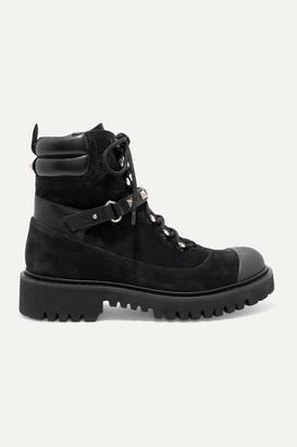 Valentino Garavani Rockstud Leather-trimmed Suede Ankle Boots - Black