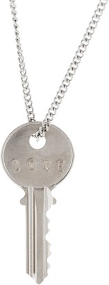"The Giving Keys Silvertone 'LOVE' Key Pendant with 30"" Curb Chain"