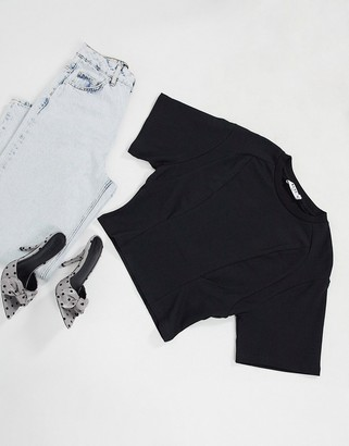NA-KD waist detail t-shirt in black