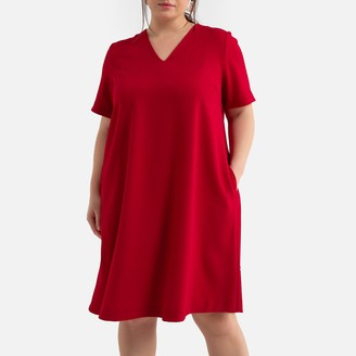La Redoute Collections Plus Flared Midi Dress with Short Sleeves