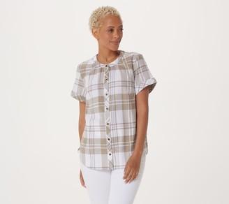Denim & Co. Plaid Button-Front Shirt w/ Shirred Details