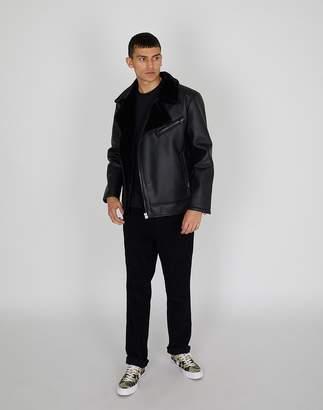 The Idle Man - PU Shearling Jacket Black