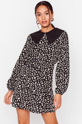 Nasty Gal Womens Collar Me Later Petite Leopard Dress - Black