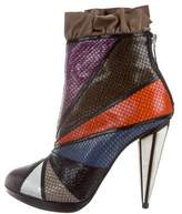Rodarte Embossed Leather Ruffle Ankle Boots w/ Tags