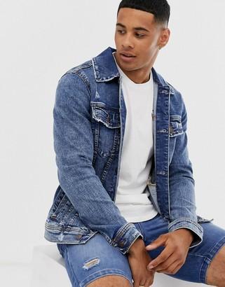 Hollister denim trucker jacket in light/medium wash