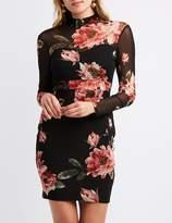 Charlotte Russe Floral Mesh Mock Neck Bodycon Dress