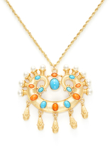 Kenneth Jay Lane Resin & Pearl Pendant Necklace