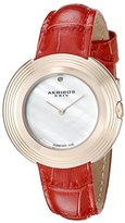 Akribos XXIV Women's AK876RD Mother-of-Pearl Dial Rose Tone & Red Leather Strap Watch