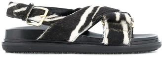 Marni Fussbett zebra-print crisscross sandals