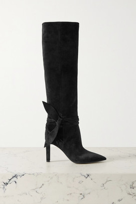 Saint Laurent Grace Bow-embellished Suede Knee Boots - Black